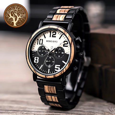 Wooden Stainless Steel Watch • Free Shipping