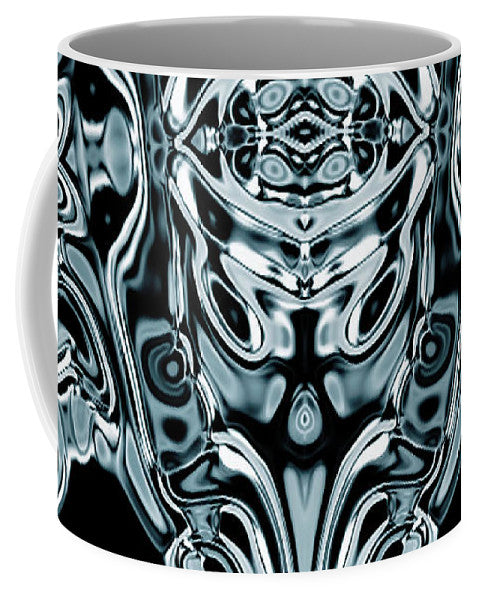 Aliens Skull And Blue Metal Skin Skeleton  - Mug - Design Forms Of Art