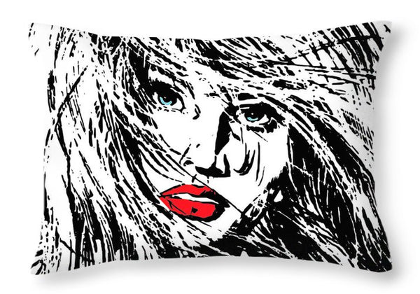 Beautiful Woman's Face With Breezy Hair  - Throw Pillow - Design Forms Of Art