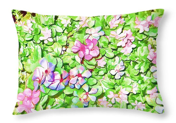 Flowers Rhododendron Full Bloom Oil Painting - Throw Pillow - Design Forms Of Art