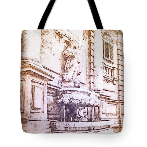 Fontain From Quattro Canti In Palermo Sicily - Tote Bag - Design Forms Of Art