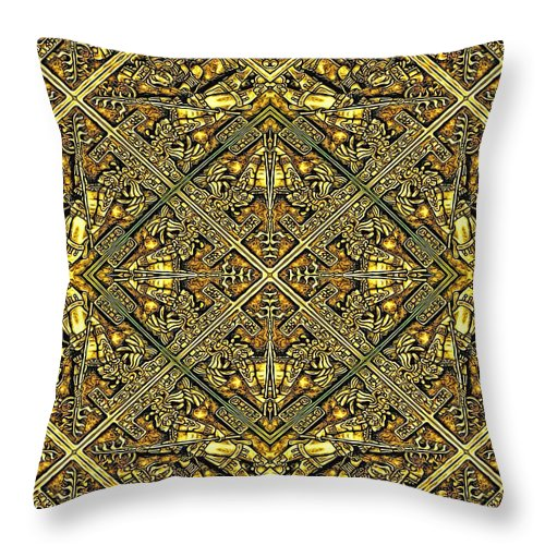 Golden Aztec Navajo Wall - Throw Pillow - Design Forms Of Art