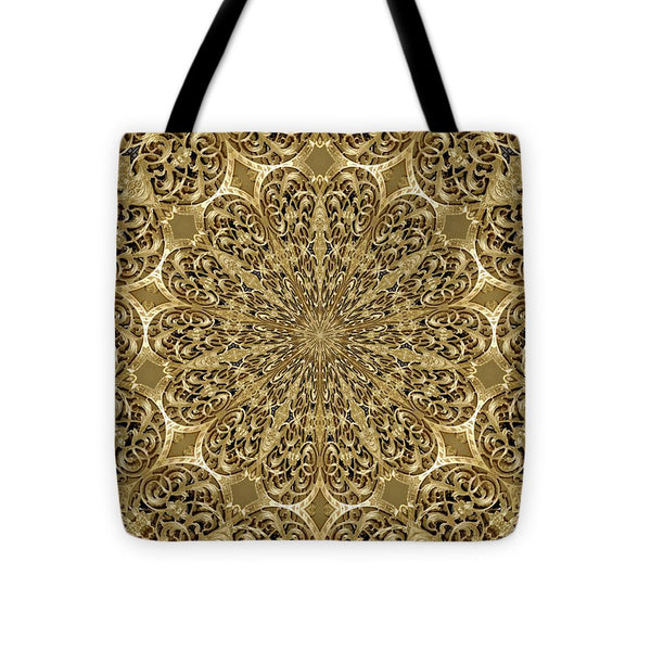 Golden Engravingdness Flowers  - Tote Bag - Design Forms Of Art