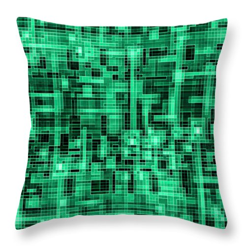 Green Tile Circuit - Throw Pillow - Design Forms Of Art