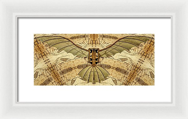 Leonardo Da Vinci Antique Flying Machine - Framed Print - Design Forms Of Art
