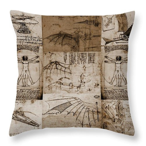 Leonardo Da Vinci Invention Sketches Photography Poster - Throw Pillow - Design Forms Of Art