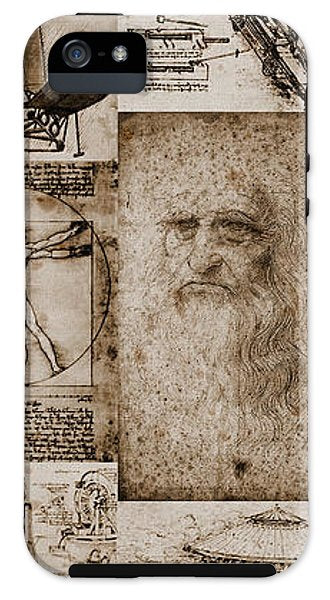 Leonardo Da Vinci Invention Sketches - Phone Case - Design Forms Of Art