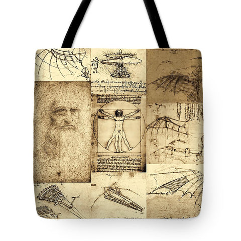 Leonardo Da Vinci Invention Sketches Poster - Tote Bag - Design Forms Of Art