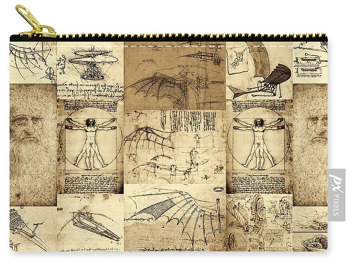 Leonardo Da Vinci Invention Sketches Poster - Carry-All Pouch - Design Forms Of Art