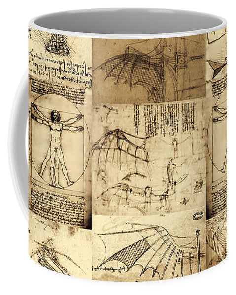Leonardo Da Vinci Invention Sketches - Mug - Design Forms Of Art