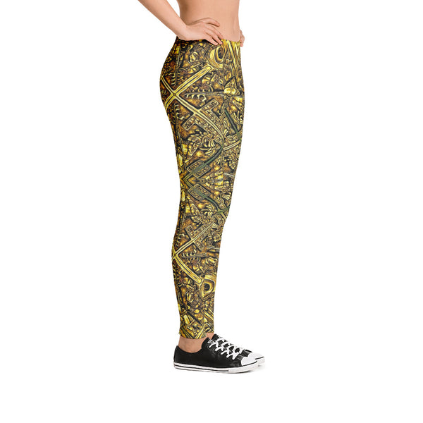 Golden Aztec Navajo Wall - Leggings - Design Forms Of Art