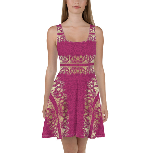 Flowers Pink-Goldallization Skater Dress - Design Forms Of Art