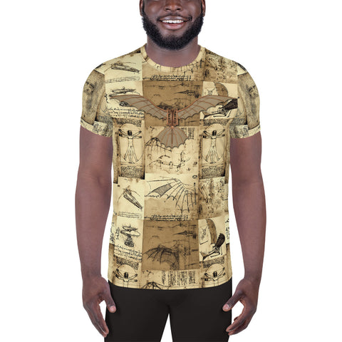 Leonardo Da Vinci - All-Over Print Men's Athletic T-shirt - Design Forms Of Art