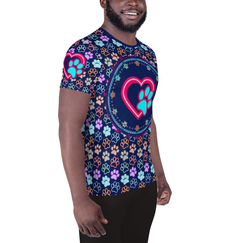 Paw In Your Heart - A • All-Over Print Men's Athletic T-shirt - Design Forms Of Art