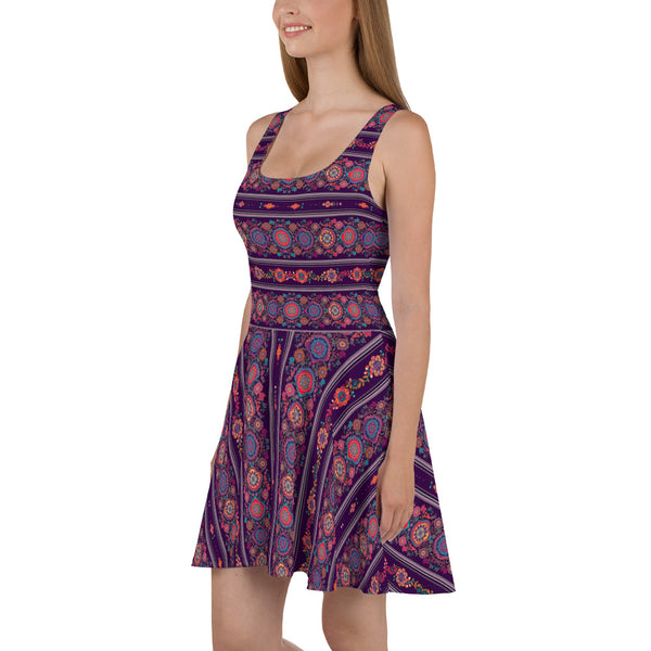 Violet Flowers - Skater Dress - Design Forms Of Art