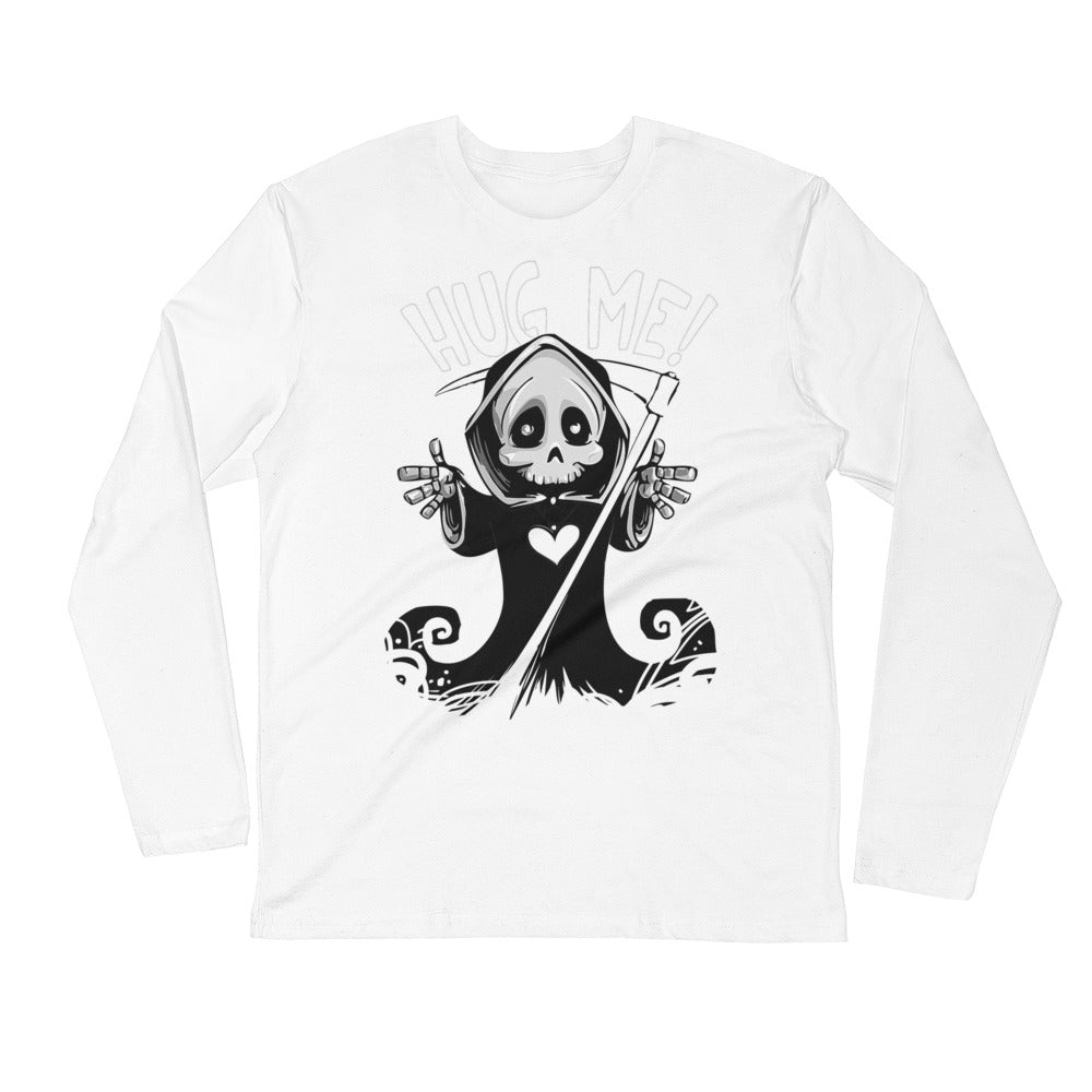 Halloween Cute Grim Reaper - Hug Me - Long Sleeve Fitted Crew - Design Forms Of Art