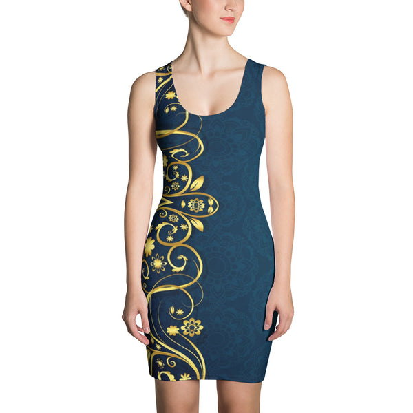 Golden Blueallization - Sublimation Cut & Sew Dress - Design Forms Of Art