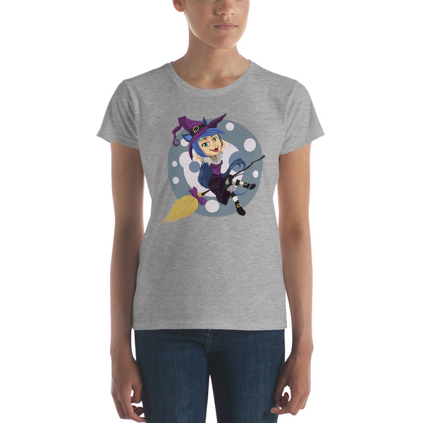 Halloween Witches On Broomsticks - Women's Short Sleeve T-Shirt - Design Forms Of Art