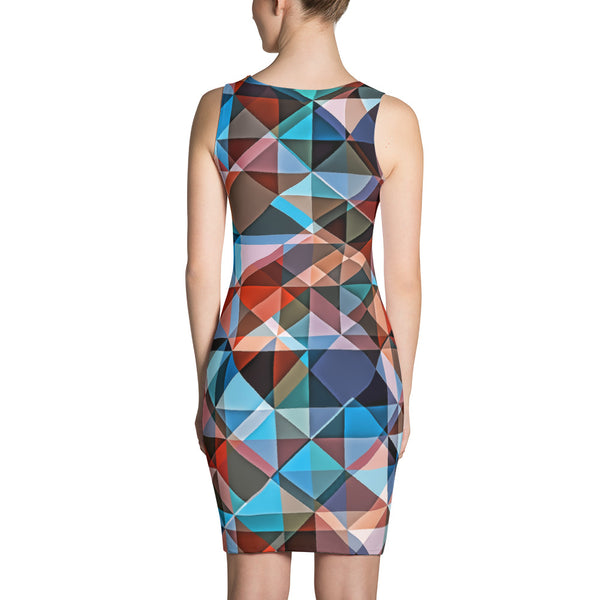 Hipster Triangle Colorization - Sublimation Cut & Sew Dress - Design Forms Of Art