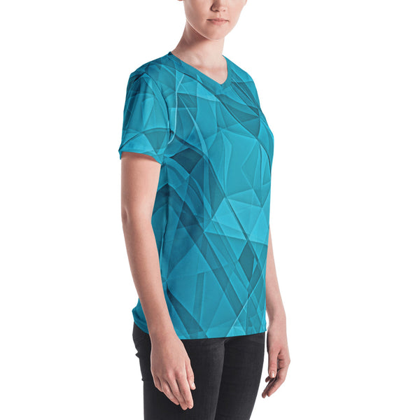 Blue Crystallization - Women's V-neck - Design Forms Of Art