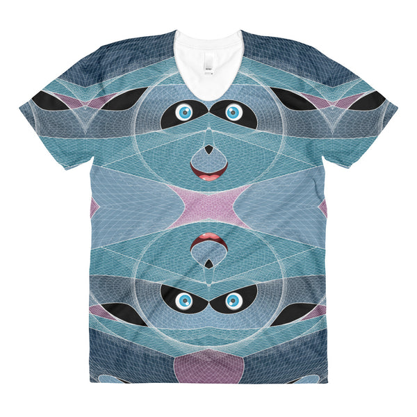 Cyber Smiley Panda - Sublimation women's crew neck t-shirt - Design Forms Of Art
