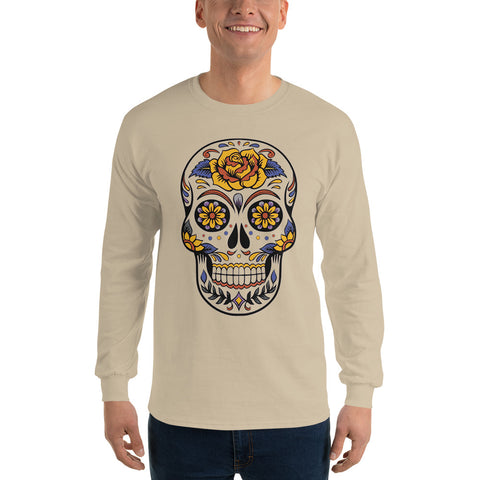 Halloween Day of the Dead Skull - Long Sleeve T-Shirt - Design Forms Of Art