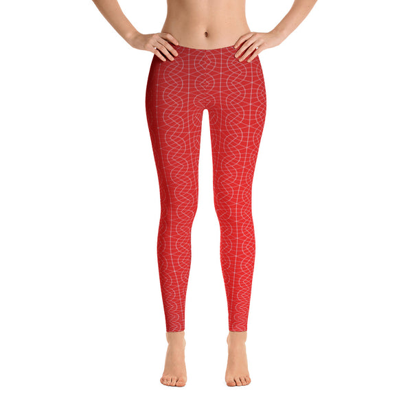Red Fractal - Leggings - Design Forms Of Art