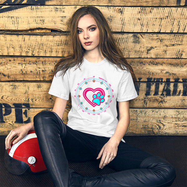 Dog Paw In Heart • Short-Sleeve Unisex T-Shirt - Design Forms Of Art