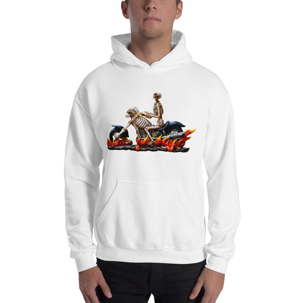 Halloween Skeleton Motorcycle - Hooded Sweatshirt - Design Forms Of Art