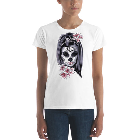Halloween Girl With Scary Mask - Women's short sleeve t-shirt - Design Forms Of Art