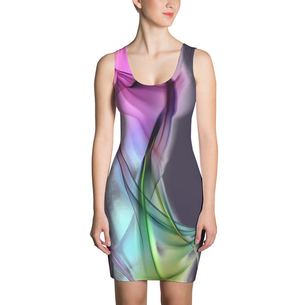 Colored Waves - Sublimation Cut & Sew Dress - Design Forms Of Art
