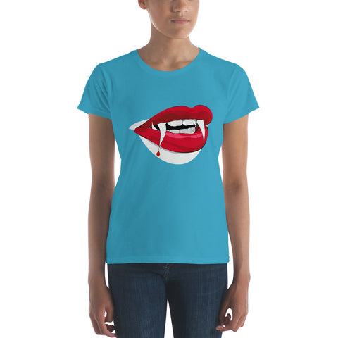 Halloween Women's Vampire Red Lips - Women's short sleeve t-shirt - Design Forms Of Art