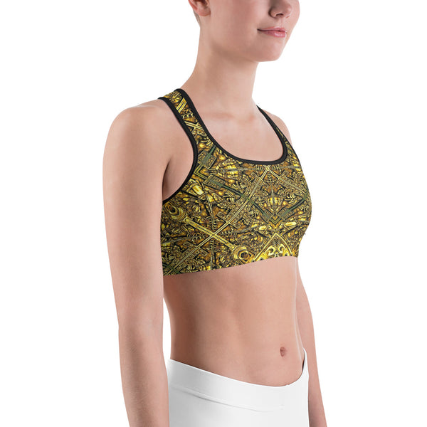 Golden Aztec Navajo Wall - Sports bra - Design Forms Of Art