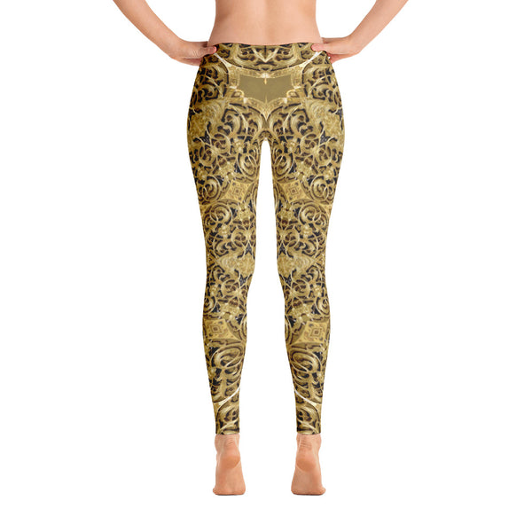 Golden Engravingdness - Leggings - Design Forms Of Art