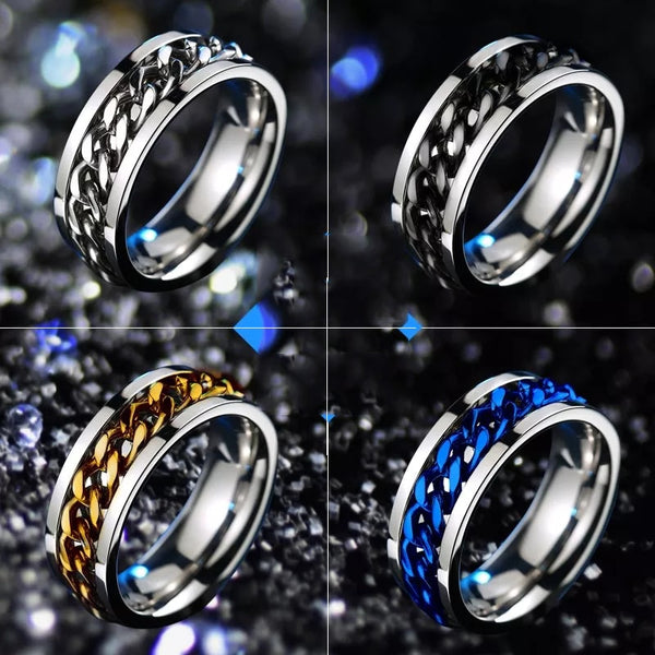 Rotatable Chain Titanium Ring • Free Shipping