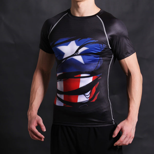 Captain America Compression Short Sleeve Shirt • Free Shipping - Design Forms Of Art