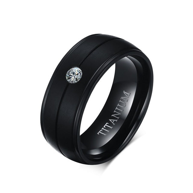 Men Titanium Ring • Rolled Step-Down Sides Stone • Free Shipping - Design Forms Of Art