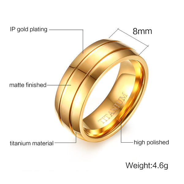 Men Titanium Double Groove Ring • Free Shipping - Design Forms Of Art