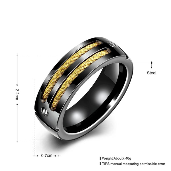 Men Black Titanium Gold Wire Inline Bolts Ring • Free Shipping - Design Forms Of Art