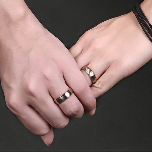 Romantic Titanium Rings • Offset Triangular With Thin Grove • Free Shipping - Design Forms Of Art