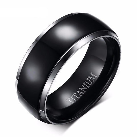 Men Titanium Rings with Raised Extra Wide Black Inlay • Free Shipping - Design Forms Of Art