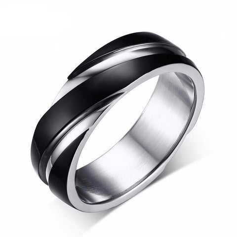 Men Titanium Ring • Twisted Step-Down Rolled Sides • Free Shipping
