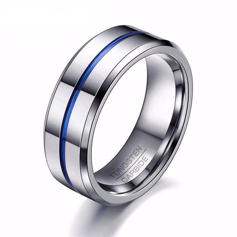Men Titanium Centered Thin Blue Line Ring • Free Shipping - Design Forms Of Art
