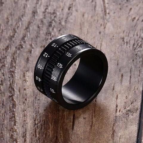 Men Titanium Round Spinner Camera Ring • Free Shipping - Design Forms Of Art