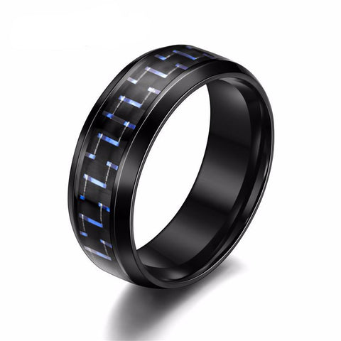 Men Titanium Ring • Black Carbon Fiber In Three Colors • Free Shipping - Design Forms Of Art