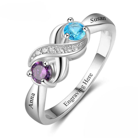 Customized Birthstone Infinity Silver Ring P • Free Shipping