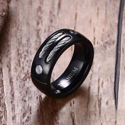 Men Black Titanium Silver Wire Inline Bolts Ring • Free Shipping - Design Forms Of Art