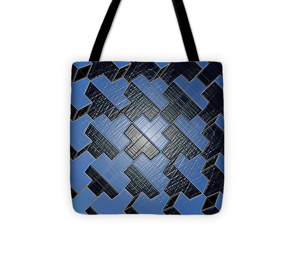 Urban Blue City Boxes Cube Leather - Tote Bag - Design Forms Of Art