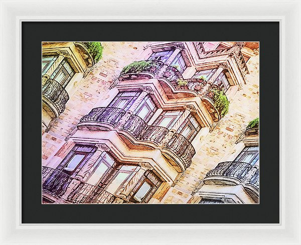 Vintage Eclectic Ionic Facade  - Colored Pencils - Framed Print - Design Forms Of Art