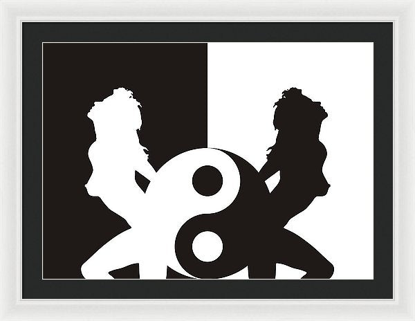 Woman Erotic Silhouette In Ying Yang - Framed Print - Design Forms Of Art